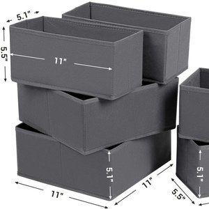 Drawer Organizers, Dresser Divider Organizers, Set of 6, Foldable Fabric Storage